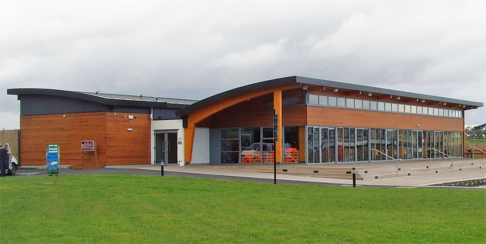This is a photograph of the Tralee Bay Wetlands centre built using ICF construciton
