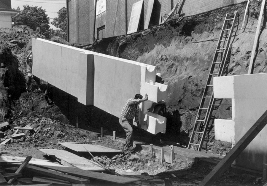 This is a photograph of the installation of old ICF blocks
