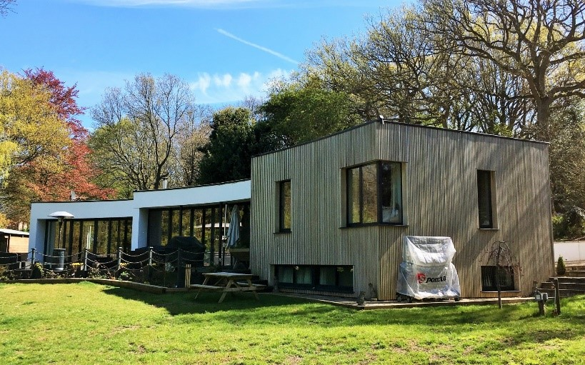 This is a photograph of the exterior of an ICF house