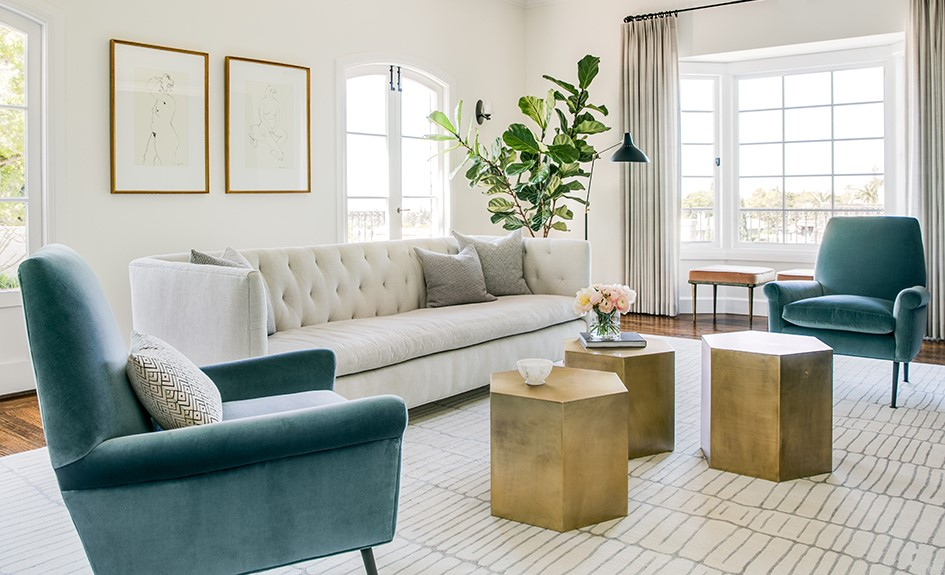 Blush And Green Living Room