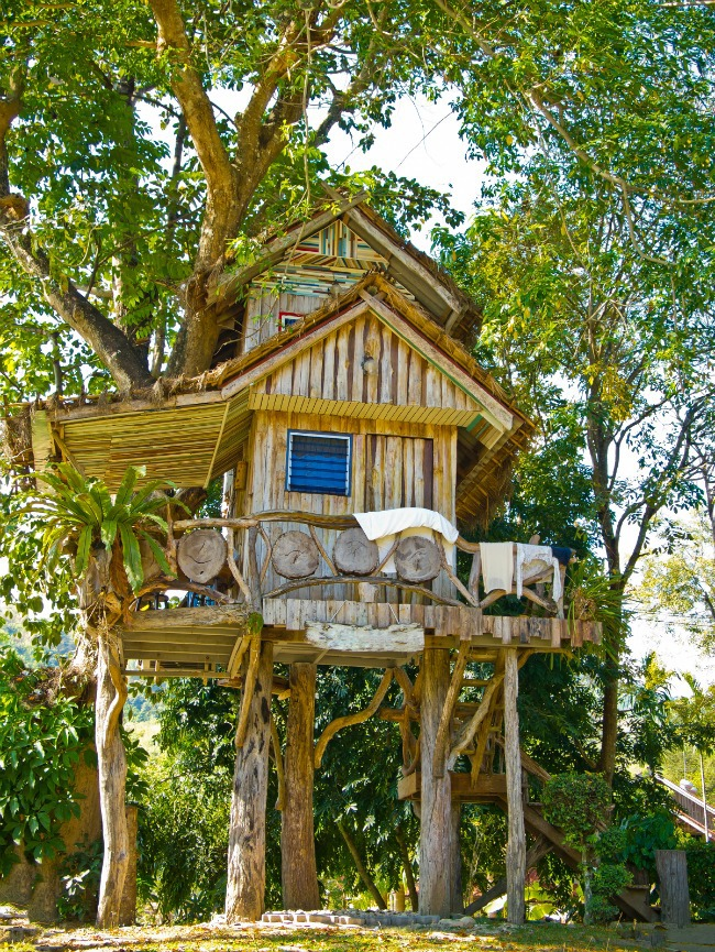 This is an image of a garden treehouse