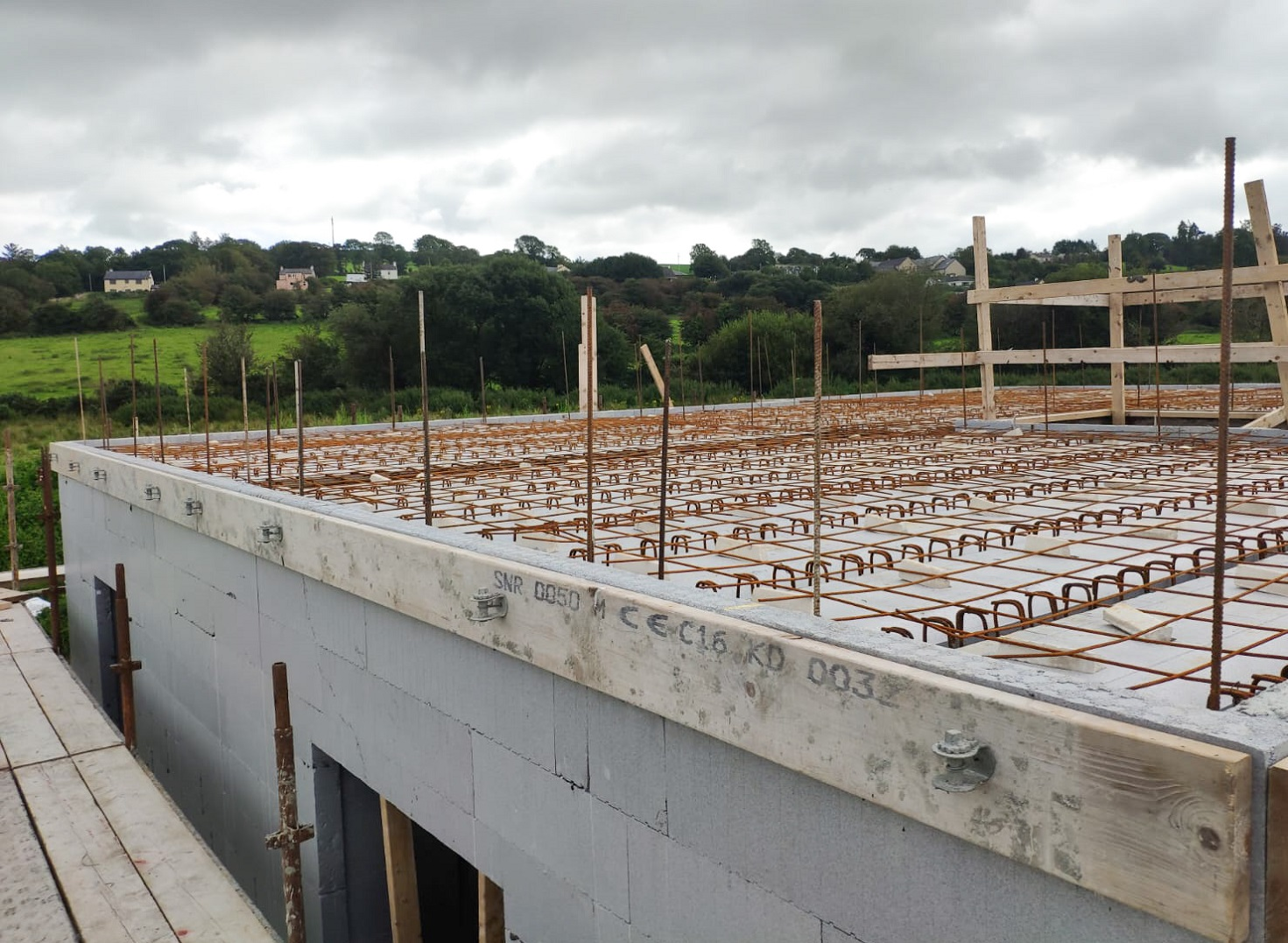ICF floor under construction on a house in Lissarda.