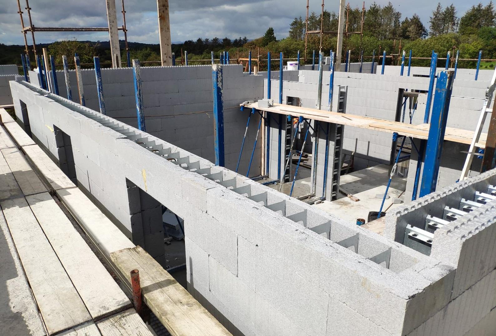 ICF ground floor walls erected on building site in Lissarda