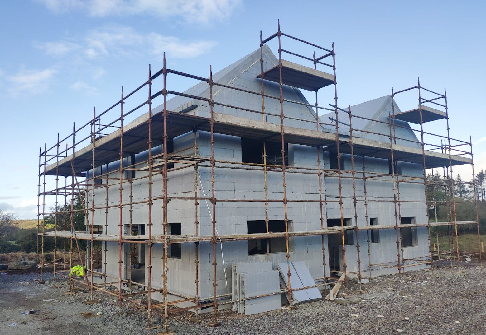 Side view of an ICF house under construction in Lissarda.